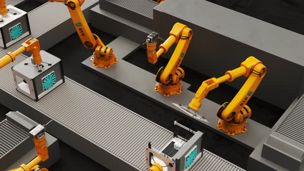 Robotic arms building printers on a assembly line Royalty-free stock video