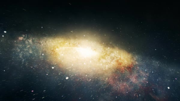 Camera flying through the center of spiral galaxy. Royalty-free stock video