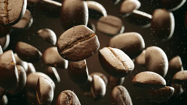 Coffee Beans Falling Down Slowly Royalty-free stock video