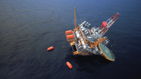 Oil Rig accident. Collapsed Oil Platform. Lifeboats waiting for rescue. Royalty-free stock video