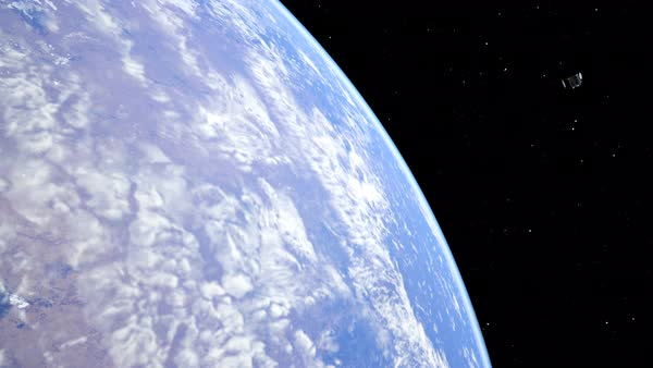 Animation with satellite orbiting the earth. Textures from NASA. Royalty-free stock video