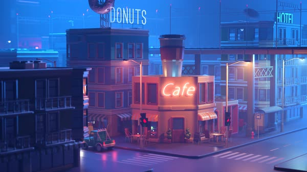 Coffeehouse on miniature-style city corner during the night Royalty-free stock video