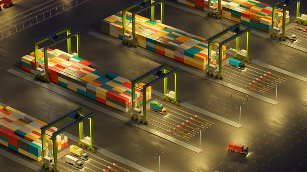 Animation of a busy maritime container terminal during night Royalty-free stock video