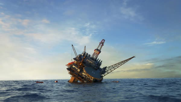 Oil rig accident Royalty-free stock video