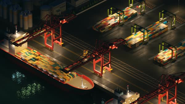 Animation of busy, maritime container terminal. Royalty-free stock video
