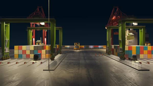 Animation of moving workers and trucks in maritime container terminal Royalty-free stock video