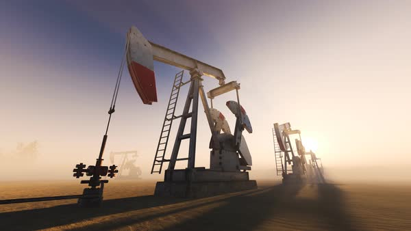 Oil pumps on a field Royalty-free stock video