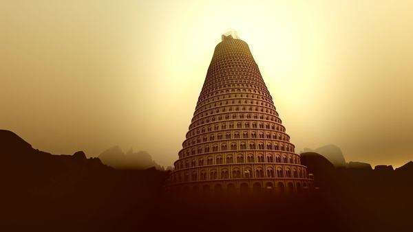Conceptual image of the Tower of Babel disappearing upwards into the mountain mist as it strives to reach heaven Royalty-free stock video