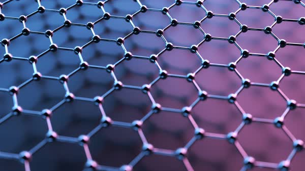 Seamlessly loopable animation of the graphene structure. Reflective dark carbon atoms in shape of honeycomb. Royalty-free stock video
