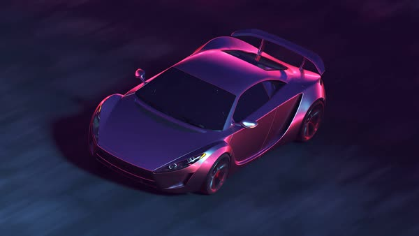 Futuristic Concept Sport Car Racing Through Tunnel Made Of Lights At