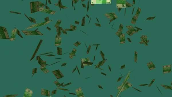 Falling Hundred Euro Banknotes On Dark Green Background. Royalty-free stock video