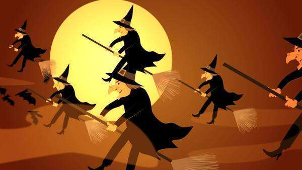 Halloween Witches Flying On A Broomsticks Against A Full Moon At Night Royalty-free stock video