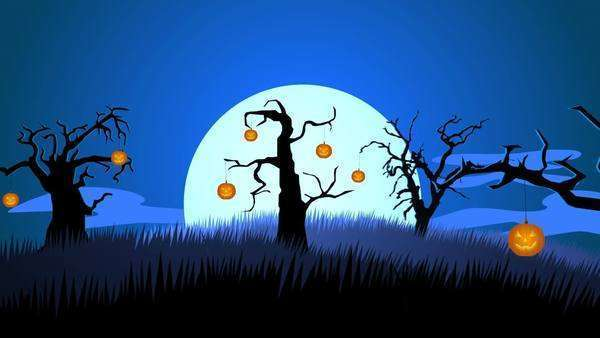 A Creepy Graveyard Halloween Background Scene With Graves, Evil Pumpkins on Trees, And Spooky Moonlit Sky Royalty-free stock video