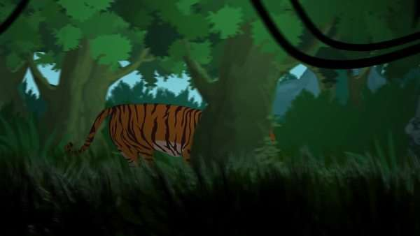 Tiger Running In Jungle With Tribal Statues And Fire In Background Royalty-free stock video