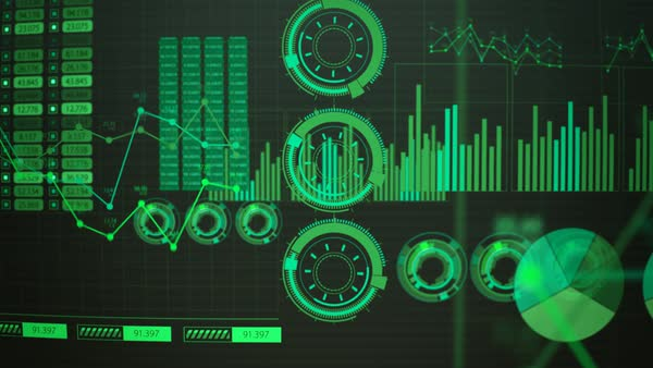 Track In Of Green Advanced Futuristic Screen With Rising And Decreasing Bars. GUI Royalty-free stock video