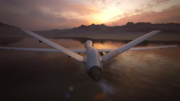 Military Predator Drone Flying During Sunset Royalty-free stock video