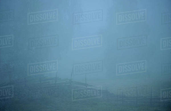 Fence in dense fog Royalty-free stock photo