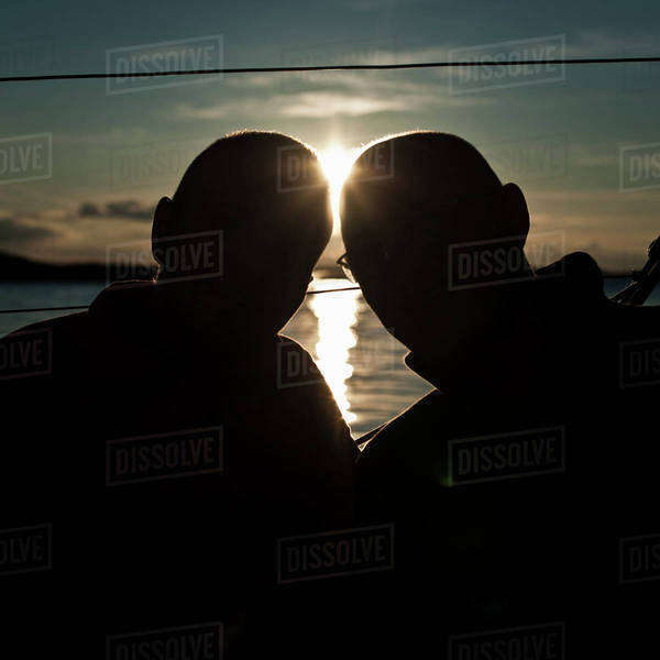 Silhouette image of two males with sun in background Royalty-free stock photo
