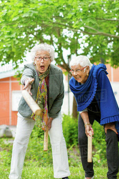 Excited senior people enjoying kubb game at park Royalty-free stock photo