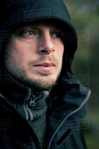 Mid adult man looking away outdoors Royalty-free stock photo