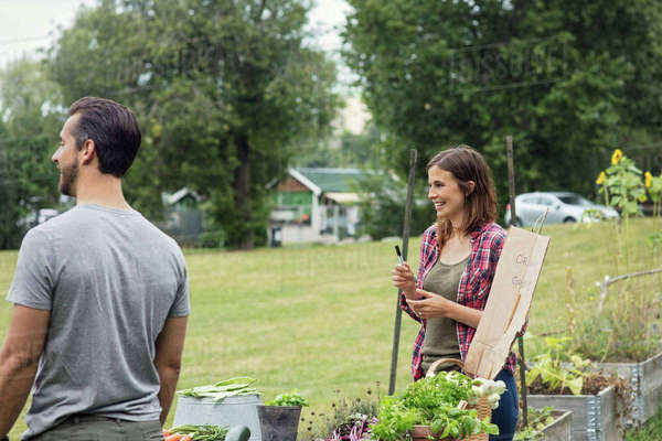 Mid adult couple selling vegetables at urban garden Royalty-free stock photo