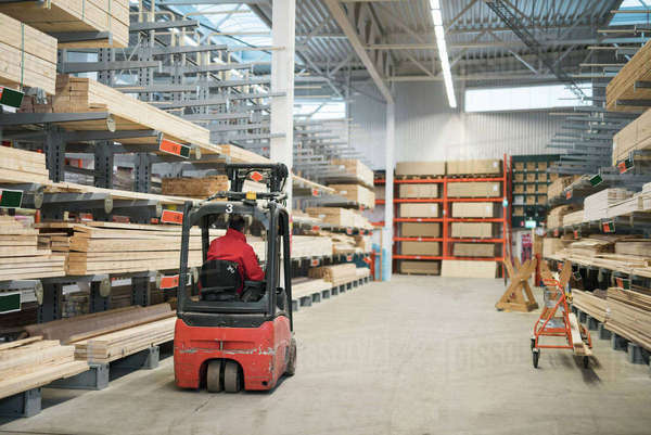 Rear view of salesman driving forklift in warehouse at hardware store Royalty-free stock photo