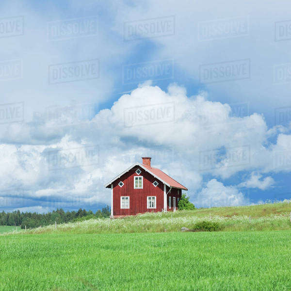Lonely house beside meadow Royalty-free stock photo