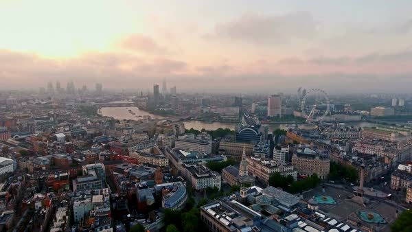 Aerial view of beautiful sunrise at the city of London skyline iconic landmarks Royalty-free stock video