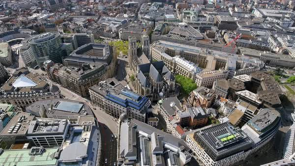 Aerial View Orbiting Gothic Brabant Church St Michael and St Gudula Cathedral in Brussels Belgium Royalty-free stock video