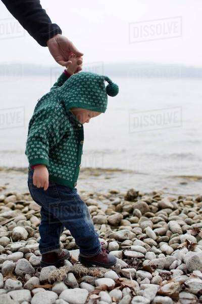Baby girl holding fathers hand stepping on lakeside pebbles, Lake Starnberg, Bavaria, Germany Royalty-free stock photo