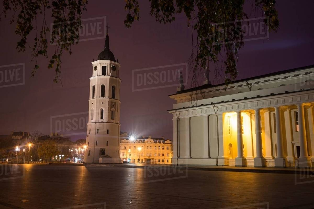 e1a2fe49ac Cathedral square at night, Vilnius, Lithuania - Stock Photo - Dissolve