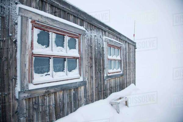 Cabins placed in the wilderness to help people who get stuck in snow storms or bad conditions, in Spitsbergen. Spitsbergen is the largest island of the arctic archipelago Svalbard, of Norway Royalty-free stock photo