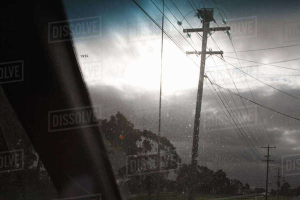 Power lines viewed from car Royalty-free stock photo