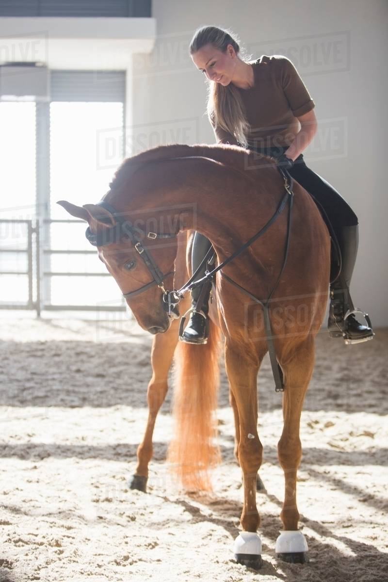 Woman Riding Chestnut Horse In Indoor Paddock Stock Photo Dissolve