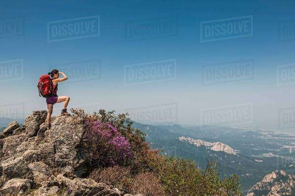 Female hiker on ridge on route to Daecheongbong peak,  Seoraksan National Park in South Korea Royalty-free stock photo