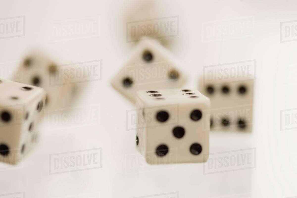Close up of tumbling dice stock photo