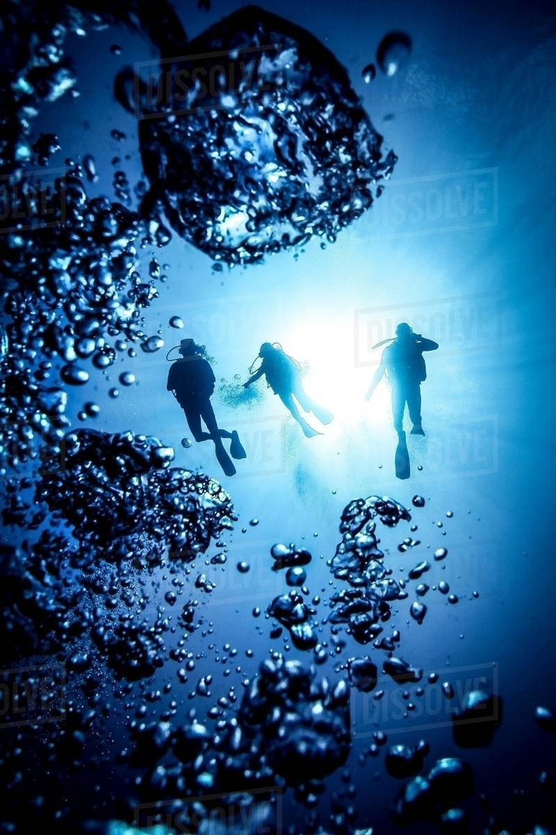 underwater silhouette of three scuba divers and bubbles bali