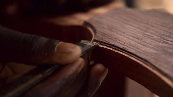 Close-up shot of luthier at work Royalty-free stock video