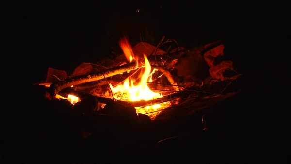 Unrecognizable woman sitting at campfire at night zoom out. Royalty-free stock video