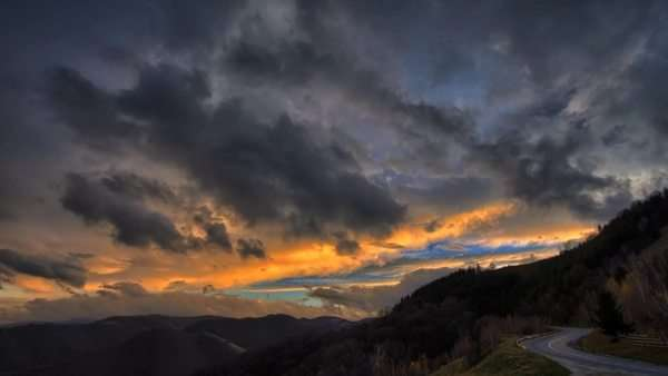 Amazing colorful sunset over the mountains timelapse Royalty-free stock video