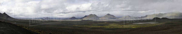 Panoramic view of barren landscape, Iceland Royalty-free stock photo