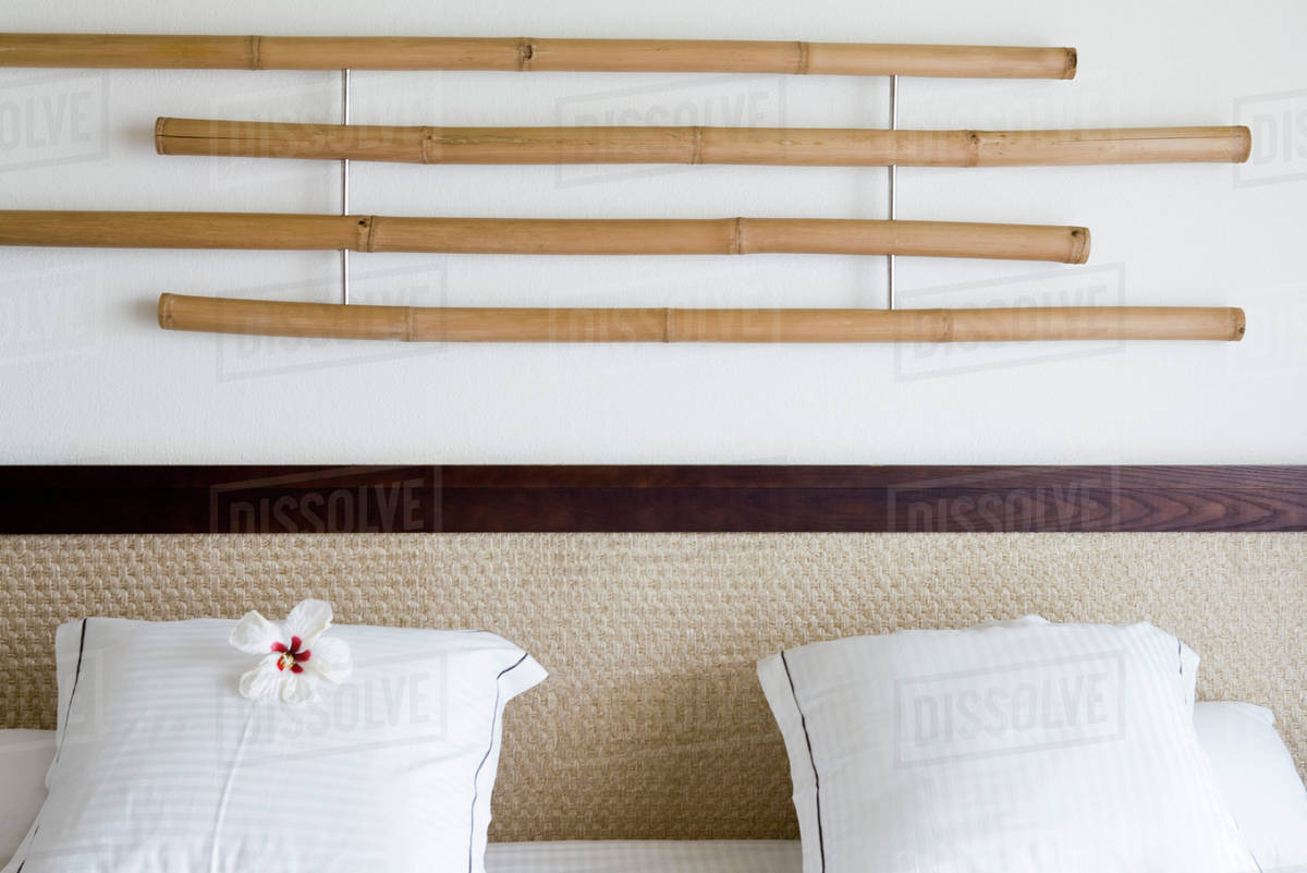 Bamboo Decoration Hanging On Wall Above Headboard White Hibiscus Flower D984 25 016