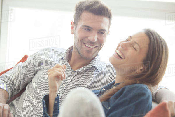 Couple spending lighthearted time together at home Royalty-free stock photo