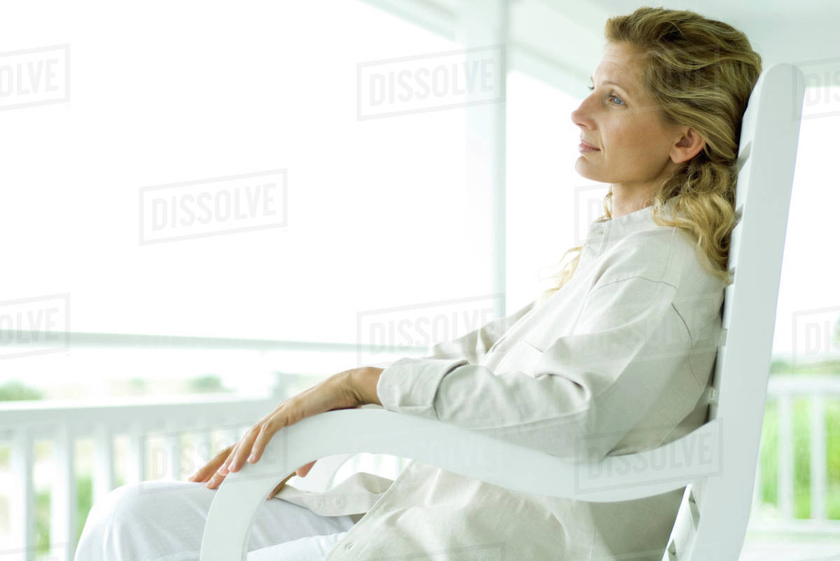 Magnificent Woman Sitting In Rocking Chair On Porch Side View D984 38 942 Pdpeps Interior Chair Design Pdpepsorg