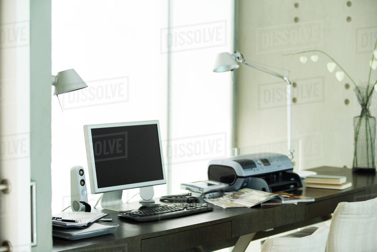 Computer And Printer On Desk In Home Office Stock Photo Dissolve
