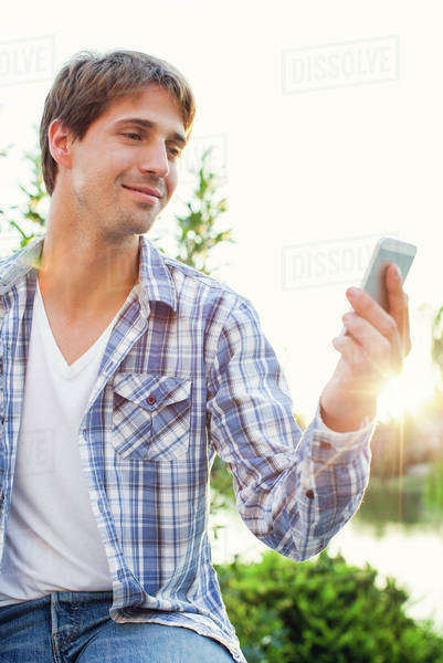 Man enjoying being outdoors and taking selfie Royalty-free stock photo