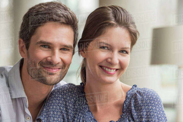 Couple together at home, portrait Royalty-free stock photo