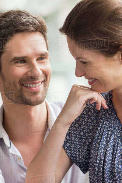 Couple smiling together at home Royalty-free stock photo