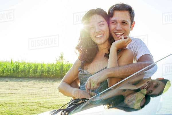 Couple in love enjoying outdoors together Royalty-free stock photo