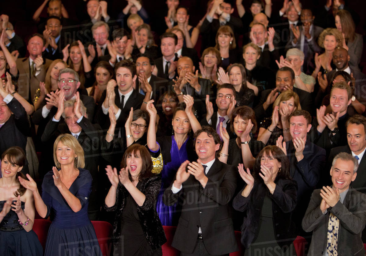clapping theater audience stock photo dissolve
